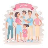 Große Familie zusammen Vektorillustration eines flachen Designs Lizenzfreies Stockbild