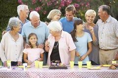 Große Familien-Gruppe, die draußen Geburtstag feiert stockfoto