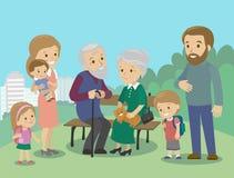 Große Familiencharaktere mit Muttervatergroßmuttergroßvaterkinderbaby-Kindersatz Vektor Vertraute Sitzung in Stockfoto