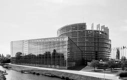 Große Fassade des Europäischen Parlaments in Straßburg Lizenzfreie Stockbilder