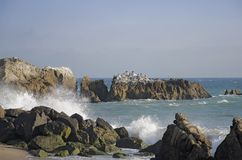 große Felsen des Strandbildwellen-Spritzens lizenzfreie stockfotografie