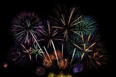 Große Feuerwerkbildschirmanzeige Stockfotos