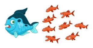 Große Fische der kleinen Fischangriffe lizenzfreie abbildung