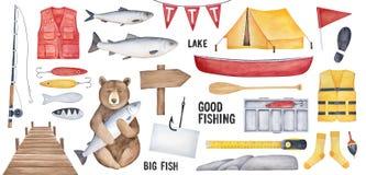 Große Fischereisammlung verschiedene Fischereiwerkzeuge, Braunbärcharakter, gelbes Zelt, hölzernes Schild, Angelhaken mit Papiera stock abbildung