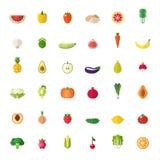 Große flache Ikonen des Obst und Gemüse eingestellt Lizenzfreies Stockbild
