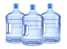 Große Flasche drei reines Wasser stock abbildung