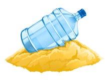 Große Flasche mit sauberem Getränk des blauen Wassers auf dem Sand stock abbildung