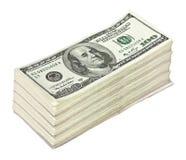 Große Garbe Geld lokalisiert auf Weiß lizenzfreie stockbilder