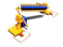 Große gelbe Unterhaltungsfahrten für Leute 3d auf weißem Hintergrund mit Schatten übertragen vektor abbildung