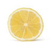 Große gelbe Zitrone liegt auf einer blauen Platte auf einem gelben Hintergrund Stockbilder