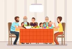 Große glückliche Familie, die zusammen das Mittagessen in der Wohnzimmerkarikatur-Vektorillustration isst vektor abbildung