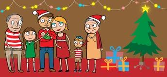 Große glückliche Familie durch Weihnachtsbaum stock abbildung