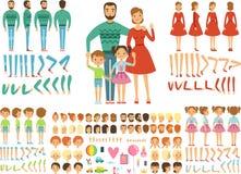 Große glückliche Familie Mutter, Vater und Kinder Maskottchenschaffungsausrüstung Lustige Paare mit Kindern lizenzfreie abbildung