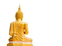 Große goldene Buddha-Statue im Thailand-Tempelisolat auf weißem BAC Stockbilder