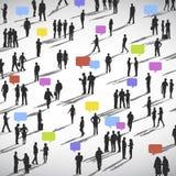 Große Gruppe des Social Networking-Leute-Vektors Stockbilder