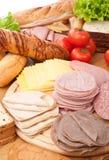 Große Gruppe Fleisch, Brot und Gemüse Stockfoto