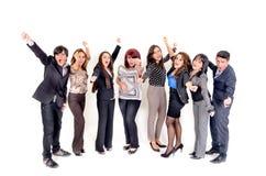 Große Gruppe glückliche Geschäftsleute. Erfolg. Stockfoto