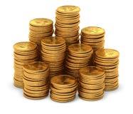 Große Gruppe Gold chinesischer Yuan prägt auf Weiß Stockfoto