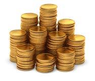 Große Gruppe leere Goldmünzen auf Weiß Stockbild