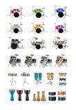 Große Gruppe Musikinstrumente stockbild