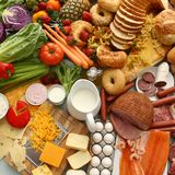 Große Gruppe Nahrungsmittel Stockfotos