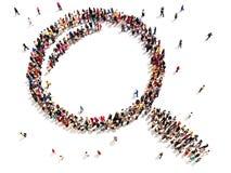 Große Gruppe von Personen in Form einer Lupe Stockbilder