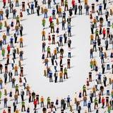 Große Gruppe von Personen im Buchstaben u-förmig Lizenzfreies Stockfoto