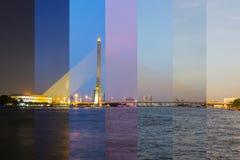 Große Hängebrücke mit Beleuchtung in der Nachtzeit/Brücke Rama 8 in der Nachtzeit Lizenzfreie Stockbilder