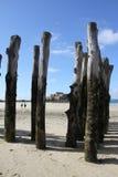 Große hölzerne Stangen im Strand an St. Malo Stockbild
