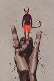 Große Hand in den Teufelhörnern unterzeichnen mit Teufel vektor abbildung