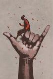 Große Hand im ANRUF ICH Zeichen mit dem Mann, der Handy verwendet lizenzfreie abbildung