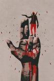 Große Hand im Gewehrzeichen mit Mannschießengewehr stock abbildung