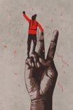 Große Hand im Siegeszeichen und Mann mit dem Arm angehoben vektor abbildung