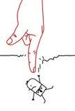 Große Hand mit Zeichentrickfilm-Figur - fallend stock abbildung