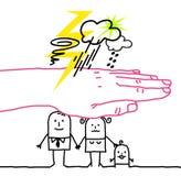 Große Hand und Zeichentrickfilm-Figuren - Unfall lizenzfreie abbildung
