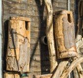 Große handgefertigte leere hölzerne Vogelhäuser machten von einem Baumstamm und -holz, die auf der Wand hängen stockfotografie