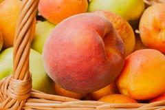 Große helle Pfirsichnahaufnahme, die in einem Weidenkorb liegt Stockbilder