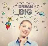 Große Ideentraumskizze mit junger Geschäftsfrau Lizenzfreie Stockbilder