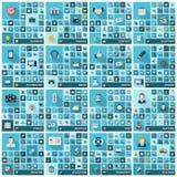 Große Ikonen eingestellt Vector Illustration des Ebene farbigen Piktogramms mit langen Schatten Zeichen und Symbole für Geschäft Lizenzfreie Stockfotografie