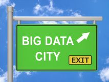 Große Illustration Daten-City Road-Zeichen-3d Stockbild