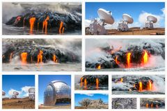 Große Insel Hawaii-Collage lizenzfreie stockbilder