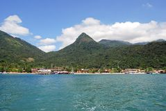 Große Insel Ilha: Hafen von Vila tun Abraoo, Rio de Janeiro Brazil Lizenzfreies Stockfoto