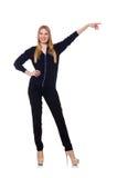 Große junge Frau in der schwarzen Kleidung an lokalisiert lizenzfreie stockfotos