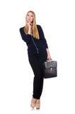Große junge Frau in der schwarzen Kleidung mit Handtasche Lizenzfreie Stockbilder