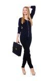 Große junge Frau in der schwarzen Kleidung mit Handtasche Lizenzfreies Stockbild