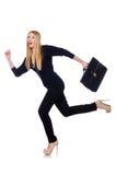 Große junge Frau in der schwarzen Kleidung mit Handtasche Stockfotos