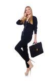 Große junge Frau in der schwarzen Kleidung mit Handtasche Stockfoto