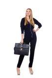 Große junge Frau in der schwarzen Kleidung mit Handtasche Stockfotografie