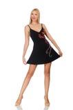 Große junge Frau im schwarzen Kleid lokalisiert auf Weiß lizenzfreie stockfotografie
