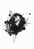 Große körnige abstrakte Illustration mit schwarzem Tintenkreis, Hand gezeichnet mit Bürste und Flüssigkeitstinte auf Aquarellpapi stock abbildung